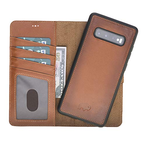 Magnetic Detachable Leather Wallet Folio Case with Snap-on Cover Designed for Samsung Galaxy S10+ Plus (6.4 inch), Burkley Case Hand-Wrapped in Premium Turkish Leather (Burnished Tan)