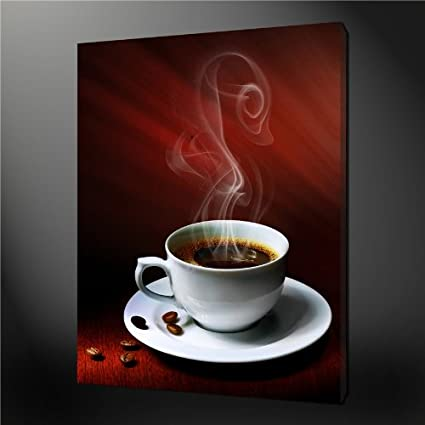 Canvas Print Wall Art Painting For Home Decor A Cup Of Hot Coffee With Coffee Bean And Magic Smoke Paintings Modern Giclee Stretched And Framed Artwork The Picture For Living Room Decoration Abstract Pictures Photo Prints On Canvas