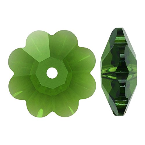 Swarovski Crystal, #3700 Flower Margarita Beads 12mm, 4 Pieces, Fern Green Swarovski Crystal Margarita Beads