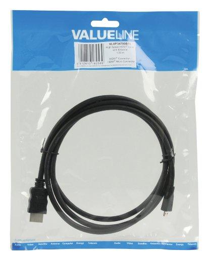 Valueline VLVP34700B15 - Cable de HDMI a micro HDMI de alta velocidad Ethernet negro