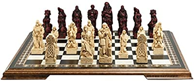Celtic and Viking Themed Chess Set - 4.5 Inches - In Presentation Box - Handmade in UK - Ivory and Burgundy