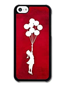 AMAF ? Accessories Banksy Balloon Girl Silhouette Red Street Art case for iPhone 5C