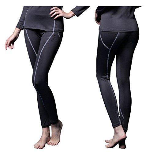 Underwear Bottoms - FITEXTREME Womens MAXHEAT Fleece Long Johns Thermal Underwear Bottom Grey L