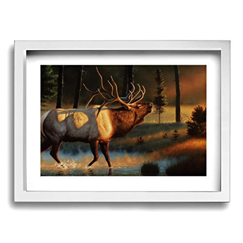 Baohuju Elk Wapiti Bull With Sunset Artwork Decor Canvas Print Wall Art For Home Office Decor Ready To Hang 16 X 12 Inches