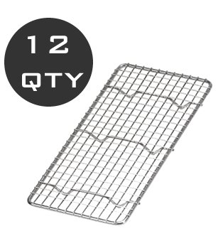 12 QTY - 1/3 SIZE WIRE PAN GRATE / COOLING RACK - WHOLESALE Wire Bun Pan Rack