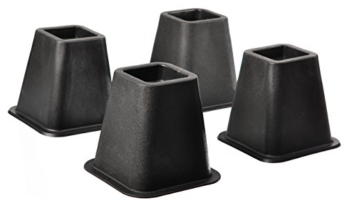 Black Bed Risers - Home-it 5 to 6-inch SUPER QUALITY Black bed risers, helps you storage under the bed 4-pack (Black)
