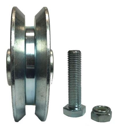 Interior Sliding Barn Door V-Groove Steel Wheel Kit, 2-3/8'' x 5/8'' with 10mm Axle & Nut