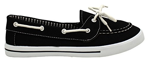 Enimay Womens Original Style Slip-On Casual Canvas Boat Shoe Loafer Flats Black | White SgOBpMfHtE