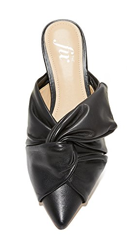 The Toe Bow Esmeralda Fix Women's Flat Pointed Black Slide Srq4Sp
