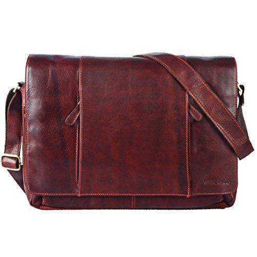 STILORD 'Erik' Vintage Bolso de Bandolera 15.6 pulgadas Portatil Cuero Maletín Bolso Bandolera cuero auténtico de búfalo, Color:rosso rosso