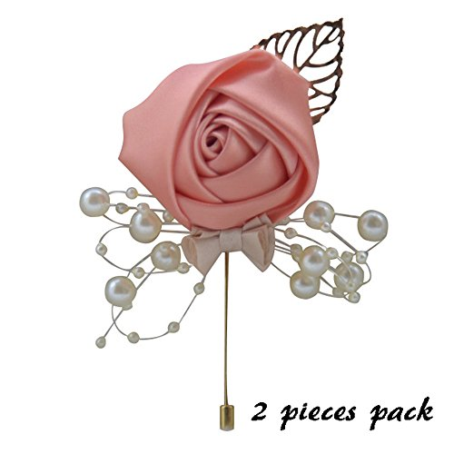 Coral Colored Rose (Florashop 2 pcs Package Satin Rose Gold Colored Leaf Men's Boutonniere Groom Boutonniere Bridegroom Boutonniere for Wedding Prom Party (Coral))