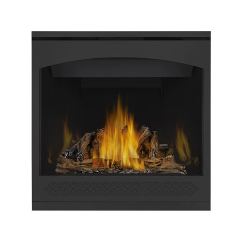 Napoleon GX36NTR Ascent 35 Direct Vent Gas Fireplace Up to 26 000 BTUs with Heat Radiating Ceramic Glass Exclusive Phazer Log Set and Charcoal Embers and Safety