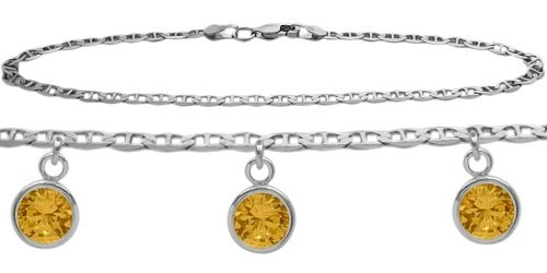 Citrine Round Charm (Genuine Sterling Silver 10 Inch Mariner Anklet with Genuine 1.65 Carat Citrine Round Charms)