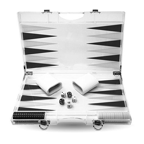 (Rolling 66 13-Inch Lucite Deluxe Backgammon Set (Black))