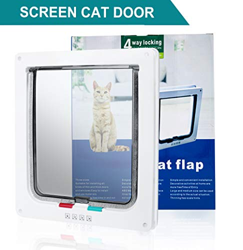 (SUCCESS Pet Door for Windows and Sliding Grass Door, Magnetic and Automatic 4-Way Locking Pet Door, Large Cat Flap for Large Cats and Dogs,9.84