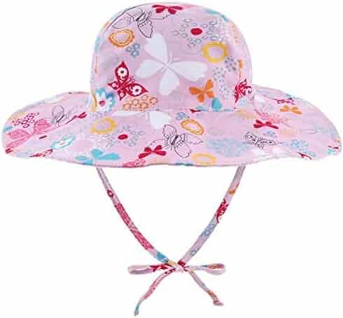 7757c5e9f70d2 Reversible Baby Sun Hat Wide Brim - Double Sides Adjustable Toddler Sun Hat  UPF 50+