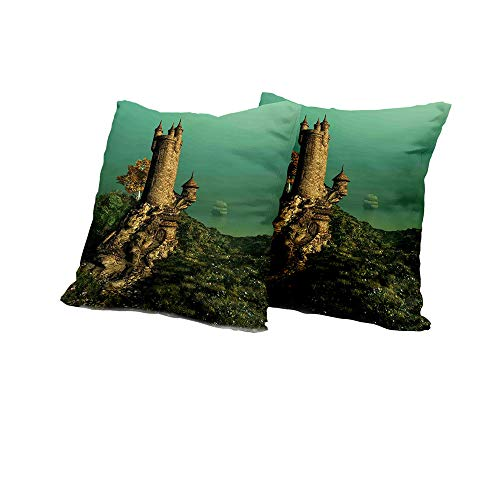 Chaise Lounge Cushion Cover Medieval,Tower of Magician on Hill with Flower Meadow Greenery Fairytale Design,Jade Green Sand Brown Decorative Pillow Covers 14x14 INCH 2pcs