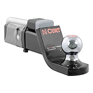 CURT 45141 Trailer Hitch Ball Mount with 2-Inch Trailer Ball & Hitch Lock, Fits 2-Inch Receiver, 7,500 lbs. GTW, 2-Inch Drop