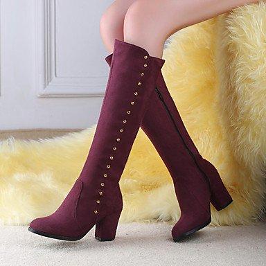 Talon Confort Femme Bourgogne Pour Noir Automne Compensé Desy Burgundy Bout Rond Chaussures Hiver Bottes Décontracté Bleu Polyuréthane q0SCxRU