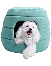 PAWZ Road 2-in-1 Cat Bed, Dog Igloo Kitten Hut for Cats and Small Dogs with Removable Pad, Exquisite Workmanship Cat House 20 inches Dia x 16 inches H Green