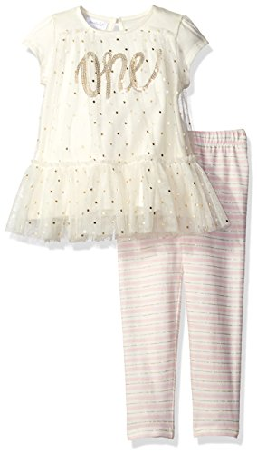 Mud Pie Baby Girls' Birthday 2 Piece Set, Light Pink Stripe, 12-18 Months