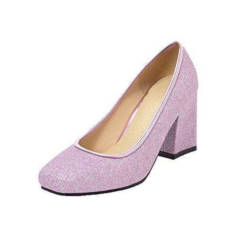 Talon Violet Agoolar Légeres Chaussures Correct D'orteil Femme Paillette Fermeture À wxqURxX