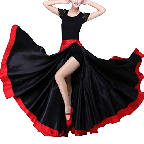 YOUMU Women Satin Dance Swing Skirt Hook Tango Spanish Modern Dancewear Costume Bullfight Red