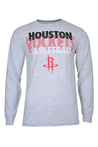 NBA Houston Rockets Men's T-Shirt Supreme Long Sleeve Pullover Tee Shirt, Large, Gray