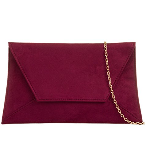Prom Ladies Suede Wedding Clutch Burgundy Handbag Envelope Shoulder Wine Faux Bag Claret Evening qvqfw0X