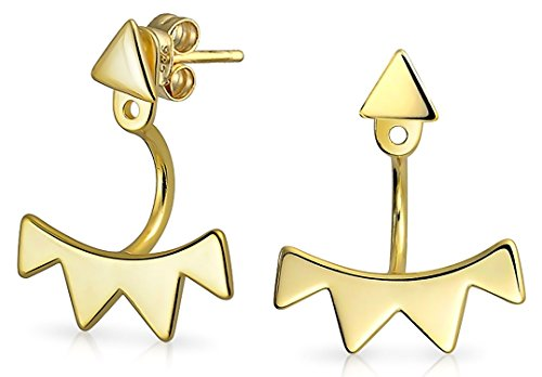 Geometric Triangle Fringe Spike Front Back Ear Jacket Earrings For Women For Teen 14K Gold Plated 925 Sterling Silver