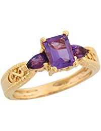 14k Yellow Gold Amethyst Infinity Design Etched Band Special Ladies Ring