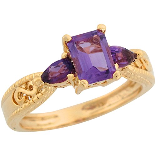 - Jewelry Liquidation 10k Yellow Gold Amethyst Infinity Design Etched Band Special Ladies Ring