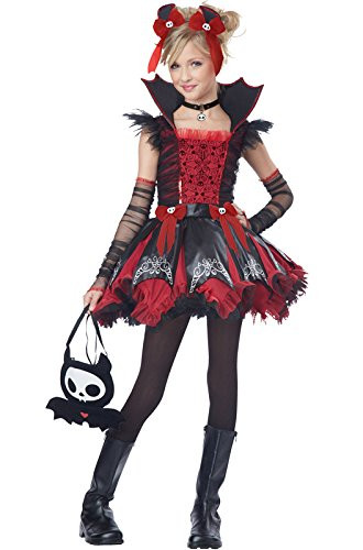 California Costumes Diego The Bat Deluxe Tween Costume, Small (Girl Vampire Costume)