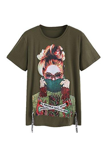 WDIRARA Women's Summer Casual Figure Print Lace Up Graphic Tee Shirt Top Green S