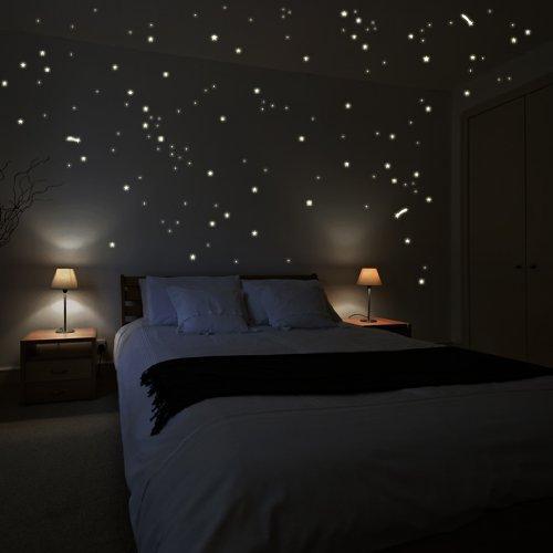 Wandkings WK-10975 250 Sterne und Sternschnuppen für Sternenhimmel Wandsticker, Fluoreszierend und im Dunkeln leuchtend