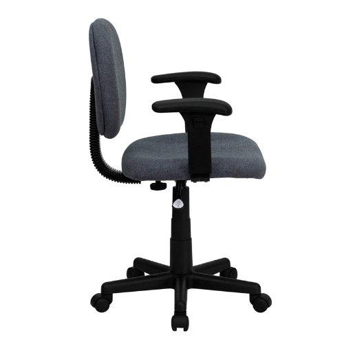 Mid-Back Ergonomic Gray Fabric Task Chair Adjustable Arms