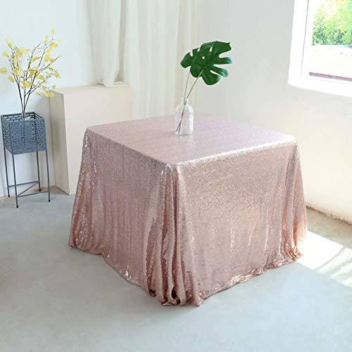 GFCC Rose Gold 50''x50'' Sequin Tablecloth Christmas Table Cloth Banquet Cover Wedding Party Christmas Decoration Supplies Baby Shower -