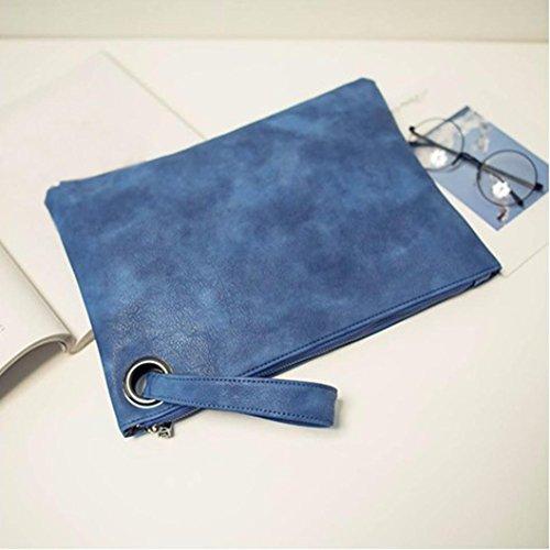 Sac Blue Cuir Embrayage Main Enveloppe à En Clutches Soirée YUYOUG Simple Sac Mode Femmes Rétro de Paquet 080qIaX