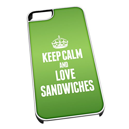 Bianco cover per iPhone 5/5S 1494verde Keep Calm and Love Sandwiches