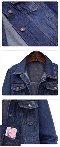 Giacche Bolawoo Di Mode Vintage Sciolto Fresco Outerwear Donna Cose Hippie Jeans Lunga Fidanzato Durevole Autunno Invernali Marca Giacca Manica Jacket Dunkelblau Cappotto znzprq