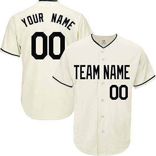 (Cream Custom Baseball Jersey for Women League Embroidered Team Player Name & Numbers,Black Stiped Size S)