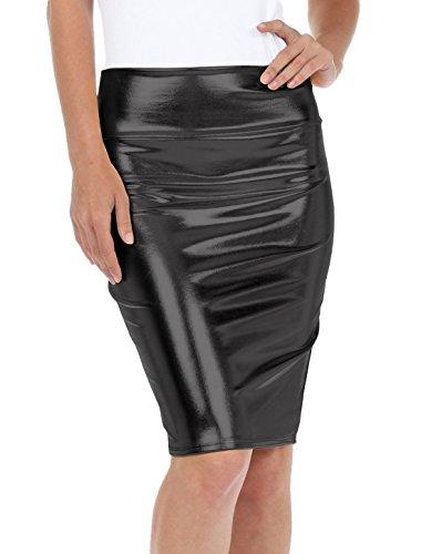 Marvoll Women's Shiny Metallic Liquid High Waist Pencil Skirt Clubwear (X-Large, Black)