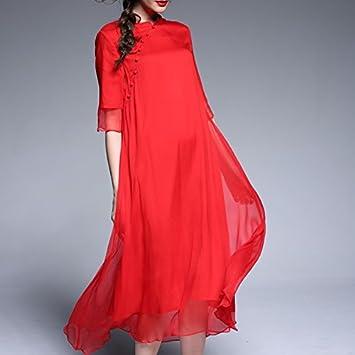 XIU*RONG Verano Cheongsam Femenina Falda Seda Roja Vestido De Seda De Morera Falda Larga