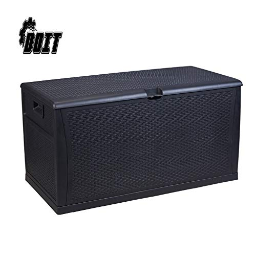 DOIT 120 Gallon Outdoor Patio Deck Box Plastic Wicker Storage Bench Box,Black