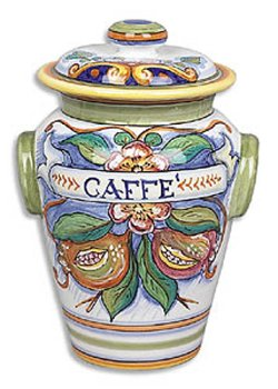 Hand Painted Bianco Fresco Caffe Canister - Handmade in Deruta by Italian Pottery Outlet