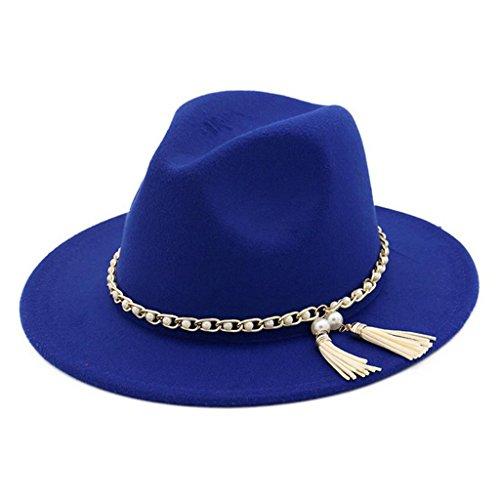Lisianthus Women Pearls Fringed Woolen Fedora Royal-Blue