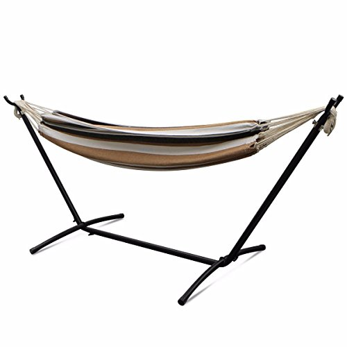 - TimmyHouse Double Hammock with Space Saving Steel Stand Includes Portable Carrying Case