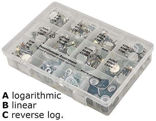 45 pcs Potentiometer Assortment 9 values 1K 5K 10K 20K 50K 100K 250K 500K 1M horizontal straight legs terminal A = logarithmic audio taper