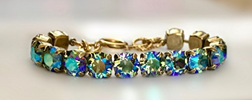 Emerald Green Crystal Swarovski AB 8mm Link Bracelet in Vintage Antique Gold, by It's (Vintage Crystal Mothers Bracelet)