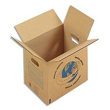 Paquete de 20 cajas de mudanza (con asas, cartón ondulado (L35 x H30 x p27,5 cm, color marrón: Amazon.es: Oficina y papelería